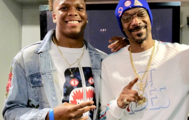 Newly signed Bills safety Mike Bell with his little league football coach, Snoop Dogg. (Photo courtesy of Mike Bell)