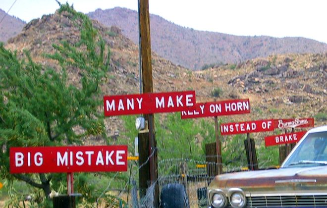 Burma Shave signs along Route 66 in Arizona (Photo by Ken Koehler)