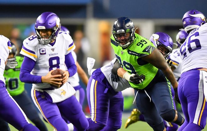 Quinton Jefferson, shown playing for Seattle, can play anywhere on the defensive line. (Getty Images)