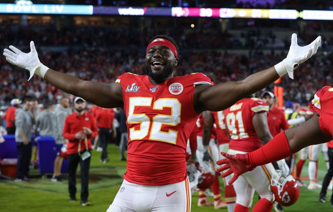 Demone Harris celebrates the Chiefs' victory in the Super Bbowl  (Jamie Squire/Getty Images)