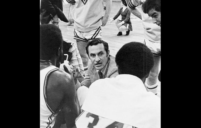 John McCarthy talks to his Canisius players during his tenure as the Golden Griffins' coach in the 1970s (Canisius College)