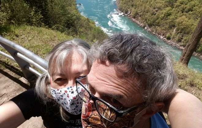 Buffalo News Watchdog Team editor Mike McAndrew and his wife Joelle take a selfie while hiking in the Niagara River gorge. (Joelle McAndrew/Special to The News)