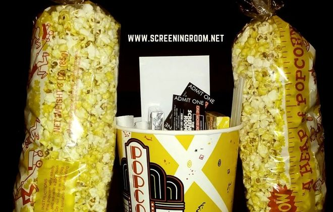 A new takeout package from the Screening Room Cinema Cafe includes concession favorites and tickets to a future movies. (Photo courtesy Screening Room Cinema Cafe)