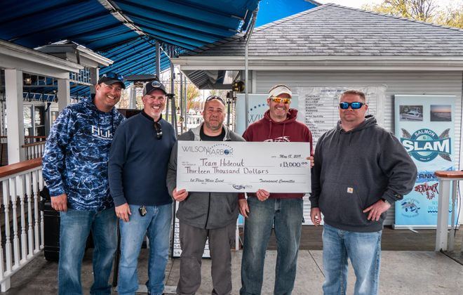 Team Hideout led by Capt. Rob Taddeo, center, will be back to defend their title as the Wilson Harbor Invitational tournament is moved to June 6. (Photo courtesy of the Wilson Harbor Invitational Tournament)