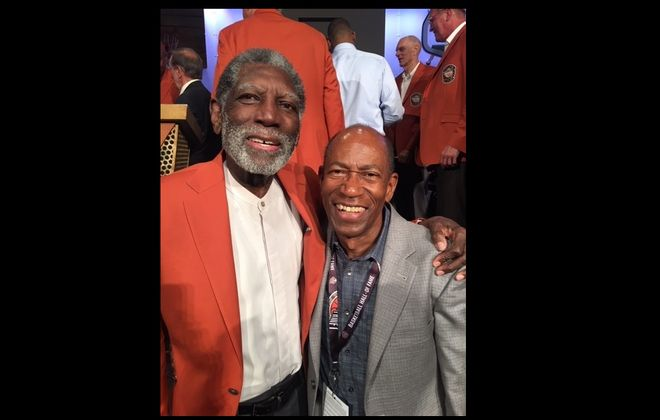 Morehouse journalism director Ron Thomas, right, covered Warriors teams that Al Attles coached in the 1970s and '80s. This photo was taken when Attles was inducted into the Basketball Hall of Fame in 2019. (Contributed by Ron Thomas)