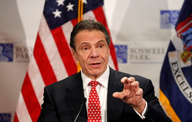 Gov. Andrew Cuomo during an April 21 visit to Roswell Park Comprehensive Cancer Center. (Mark Mulville/News file photo)