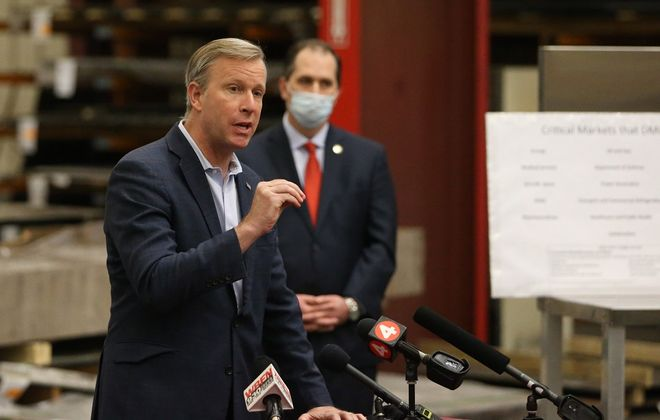 Sen. Chris Jacobs discussed preparing the region for reopening and key considerations the Governor must take into account moving forward, in Lockport, on Tuesday, May 12, 2020.  (John Hickey/Buffalo News)