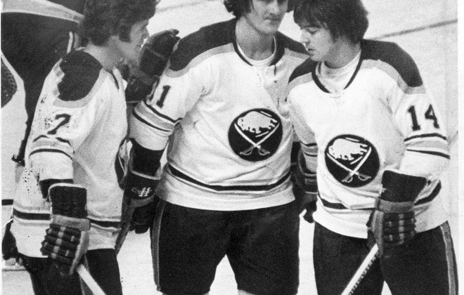 Rick Martin, Gil Perreault, and Rene Robert combined for 131 goals in the 1974-75 season. (Buffalo News file photo)