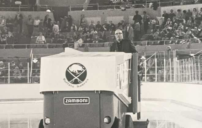 Shorty LaLonde driving the Zamboni at Memorial Auditorium. (Courtesy of Susie Harris)