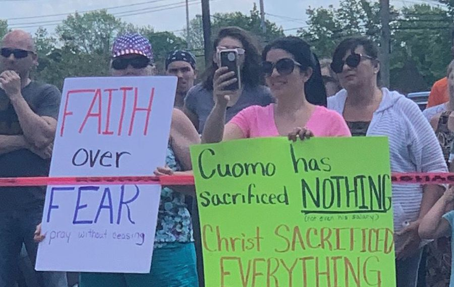 A First Amendment rally at Old Time Baptist Church in Hamburg drew nearly 300 people including 70 pastors who traveled from throughout the state. (Jane Kwiatkowski/Buffalo News)