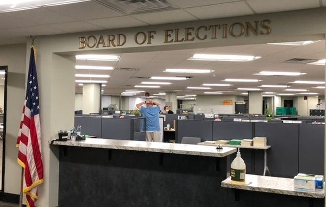 The front office of the Board of Elections remains quiet shortly after 9 p.m. on June 23, while votes are counted in a back office.