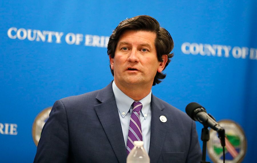 County Executive Mark Poloncarz speaks to the media at the Rath Building. (Mark Mulville/Buffalo News)