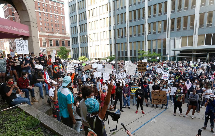 Niagara Square has been the scene of protests all month. (Sharon Cantillon/News file photo)