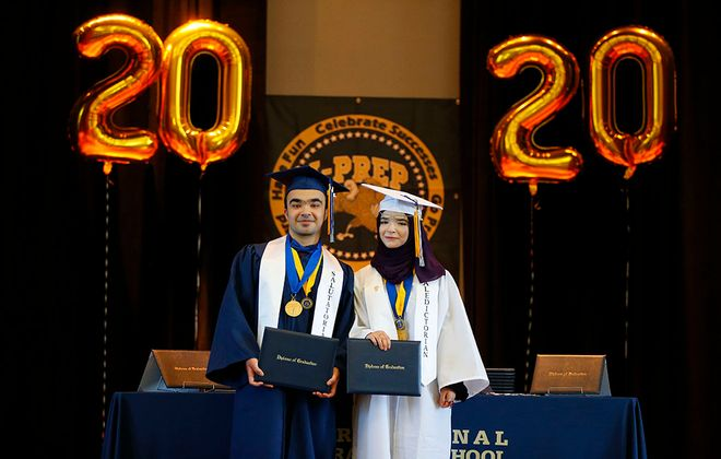 Bashar Kattan and his sister, Sara Kattan, are the salutatorian and valedictorian, respectively, for the Class of 2020 at  International Preparatory School at Grover Cleveland High School. (Mark Mulville/Buffalo News)