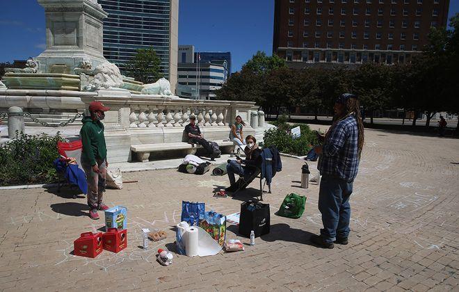 Protesters say they are occupying Niagara Square in Buffalo. (John Hickey/Buffalo News)