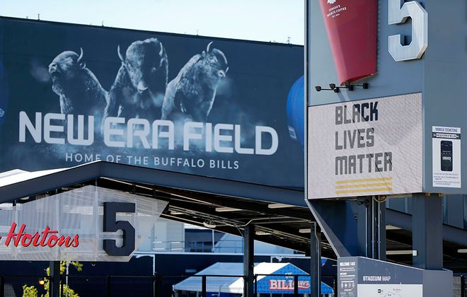 A Black Lives Matter sign at the entrance to gate 5 at New Era Field in Orchard Park Monday, June 15, 2020.   (Mark Mulville/Buffalo News)