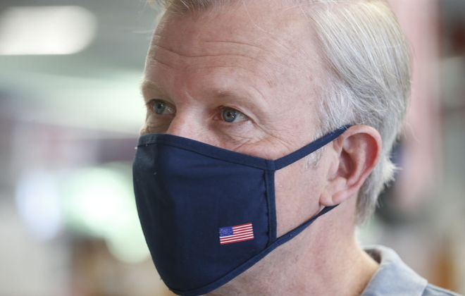 Chris Jacobs pictured on the campaign trail, Tuesday, June 16, 2020. (Robert Kirkham/Buffalo News)