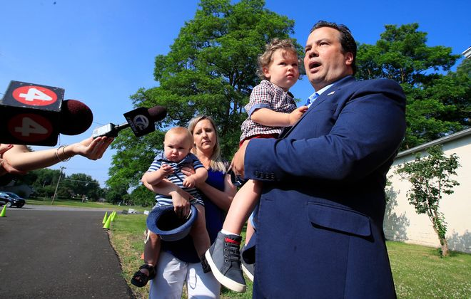 Stefan Mychajliw, candidate for Congress in New York's 27th District, speaks to the media after voting at the Hamburg Moose Lodge on June 23. (Harry Scull Jr./Buffalo News)