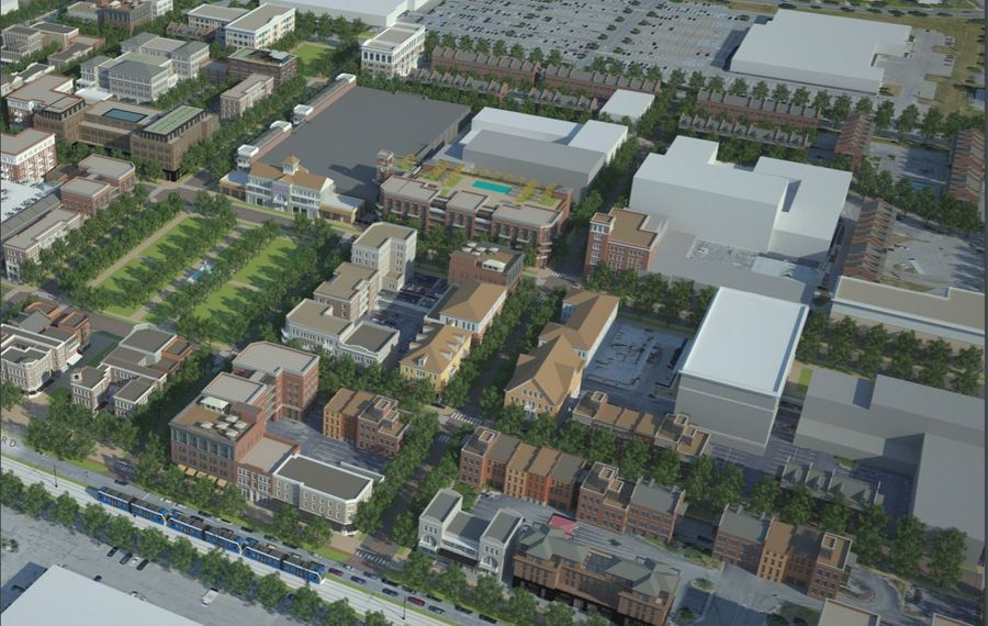 This rendering prepared by a consultant for the Town of Amherst shows what the revived Boulevard Mall site could look like. (Design by Dover, Kohl & Partners)