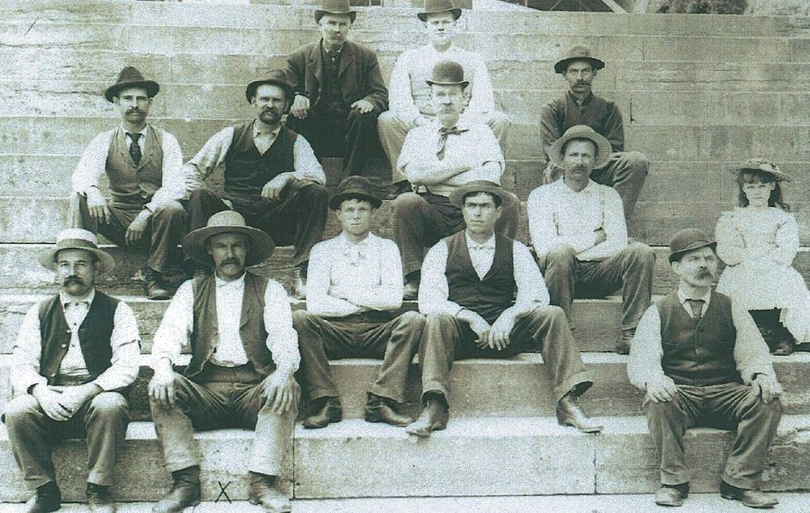This 1897 photo of Erie Canal workers in Lockport will be depicted in a set of life-size statues to be installed at the canal locks beginning in July 2020. (Contributed photo)