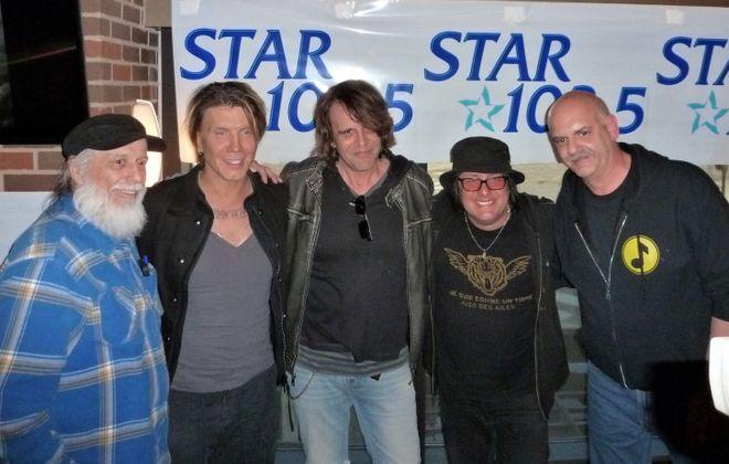From left: Bruce Moser, John Rzeznik, Jeff Miers, Robby Takac and Bob Silvestri at a Goo Goo Dolls performance. (Photo courtesy of Bob Silvestri)