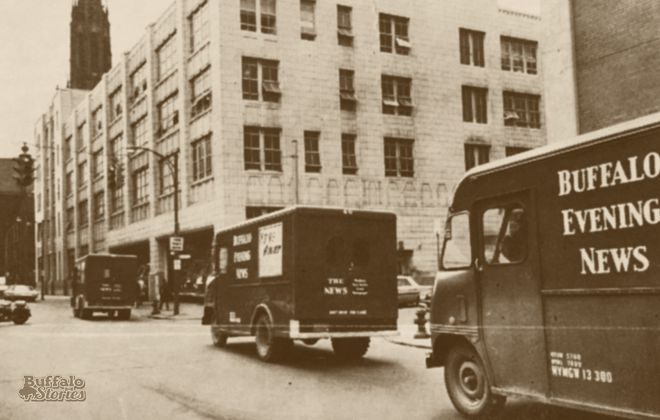 Buffalo Evening News trucks roll up Goodell Street to the Courier-Express building, where papers were printed during a power failure at The News in 1967.