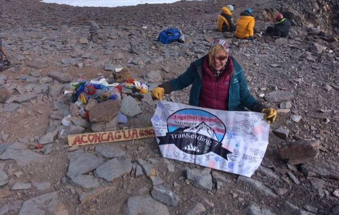 Clarence native Erin Parisi at the peak of Mount Aconcagua, Argentina, on Feb. 9, 2019. (Courtesy TranSending)