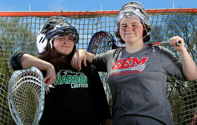 Nardin Academy lacrosse goalie Rebecca Galbraith and her twin sister, Alexandra, a goalie at Buffalo Seminary, did not get to face each other this season. (Harry Scull Jr./Buffalo News)