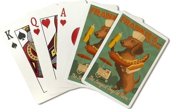 Dachshund-Retro Hot Dog Ad playing cards by Lantern Press.