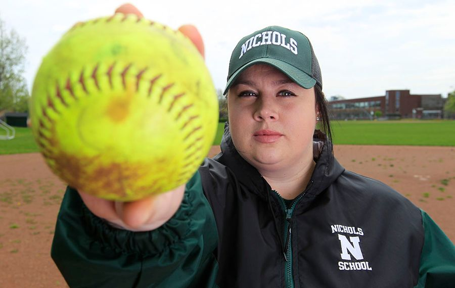 """""""It was such a great thing for me to coach, and it kept my mind off everything,"""" said Nichols varsity softball coach Molly Gasuik. (Harry Scull Jr./Buffalo News)"""