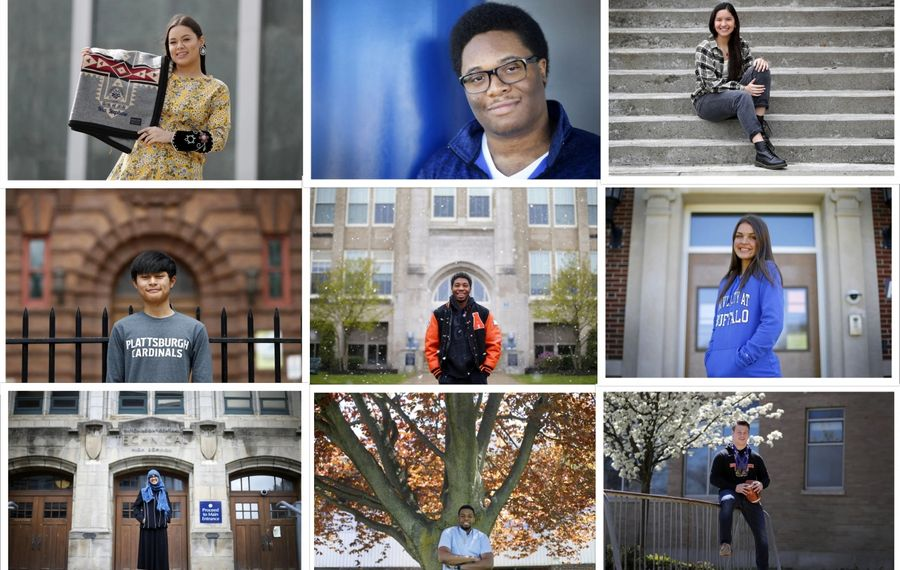 From left to right, top to bottom: Seniors Nia Nephew, Calvin Brown, Jadyn Jones, Nay Thaw, Hassan Dobbins, Skylar Munnikhuysen, Hawa Saleh, John Orogun and Christopher Diem, part of the graduating class of 2020. (Mark Mulville/Buffalo News)