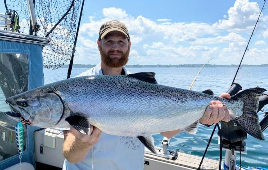 Wade Rowcliffe of Rochester with a silver king salmon caught off Point Breeze over the weekend. The LOC Derby starts Saturday. (Photo courtesy of Vic Rowcliffe)