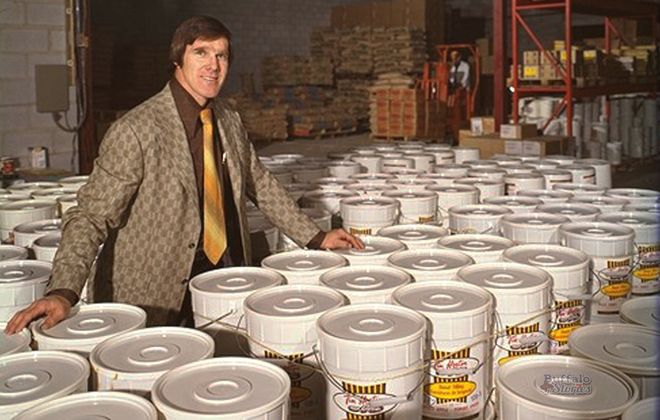 Tim Horton inside the warehouse of his coffee and doughnut empire.