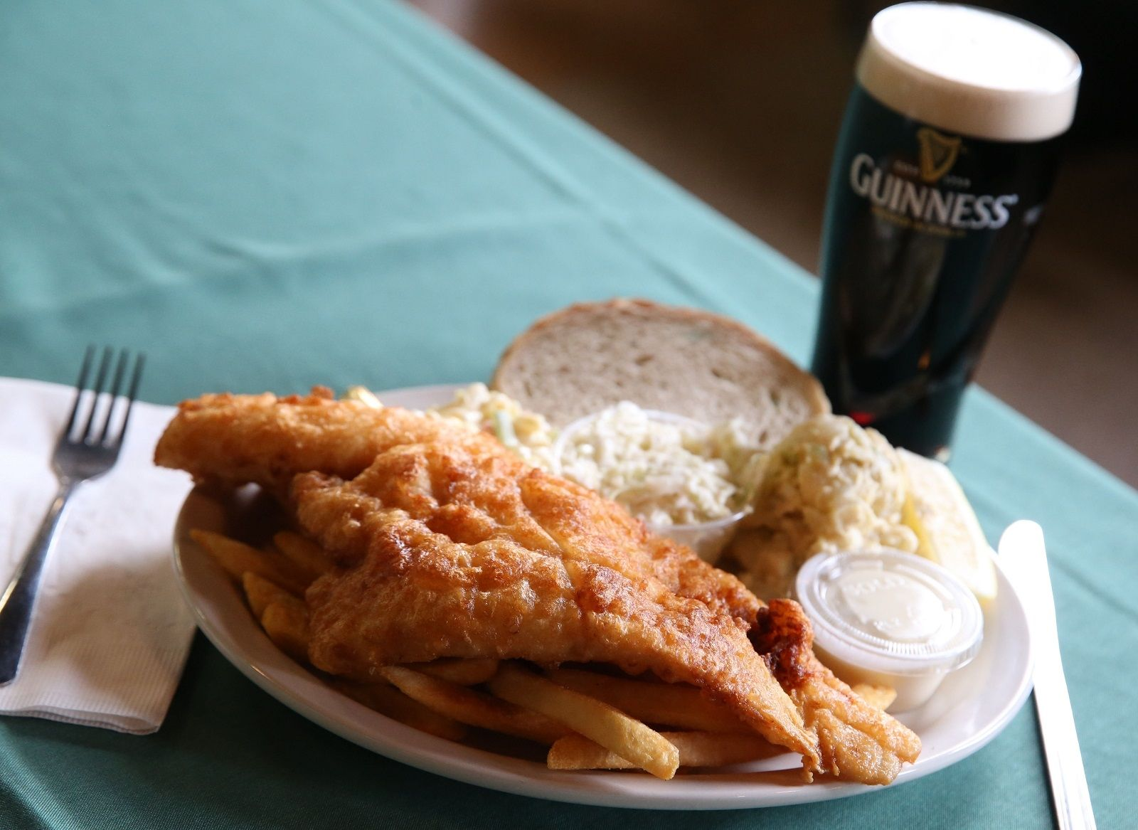 The Buffalo Irish Center's beer-battered haddock comes with coleslaw, macaroni salad, potato salad, fries and rye bread. They also offer broiled haddock in lemon pepper, Cajun or Italian.