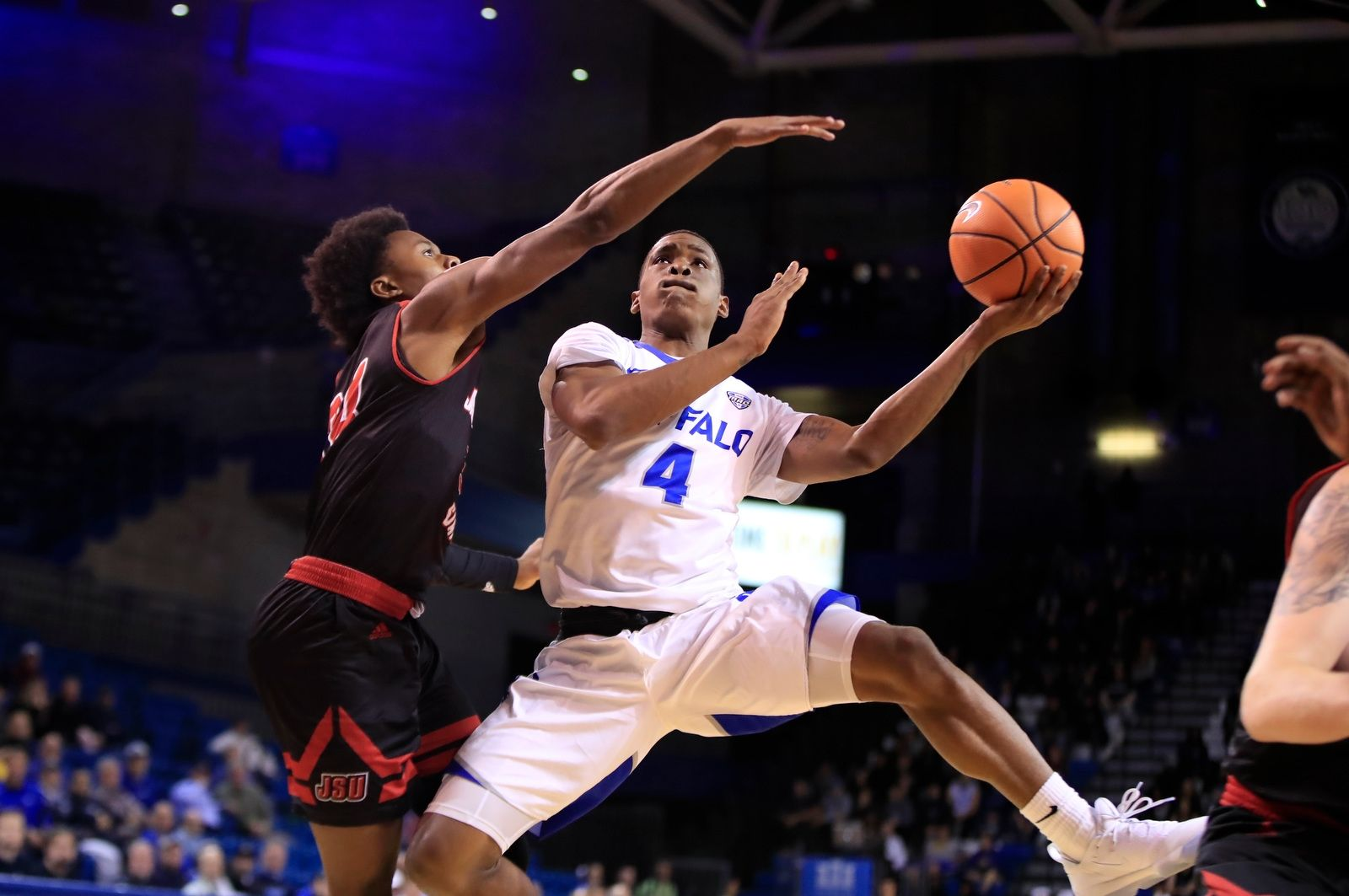 University at Buffalo guard Davonta Jordan drives to the basket against Jacksonville State during second half action at Alumni Arena on Wednesday, Nov. 15, 2017.