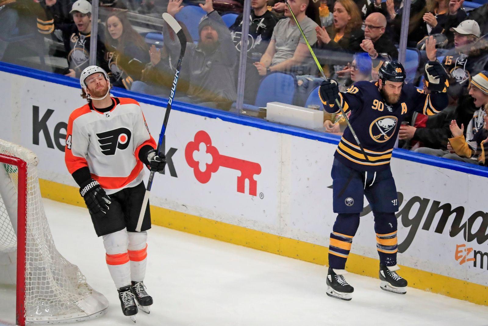 Buffalo Sabres' Ryan Ou2019Reilly celebrates a goal against the Philadelphia Flyers during third period action.