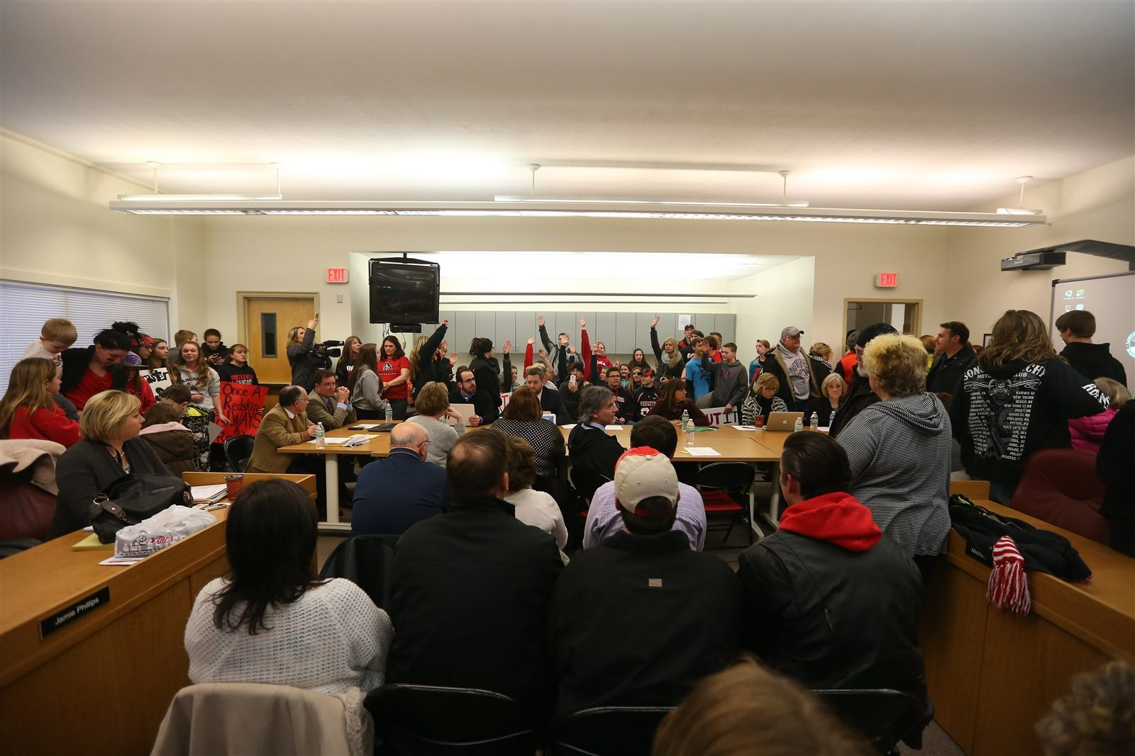 Mascot supporters pack the Board of Education meeting room at Central Avenue Elementary School in Lancaster Monday, March 23, 2015.