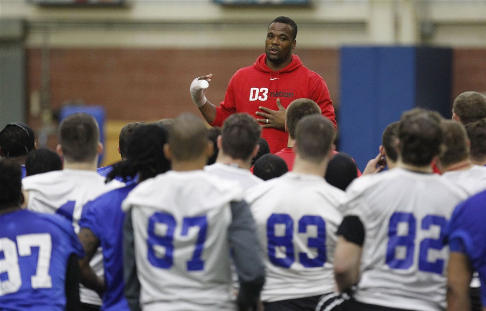 University at Buffalo football players during spring practice at the ADPRO Sports Training Center on March 27.