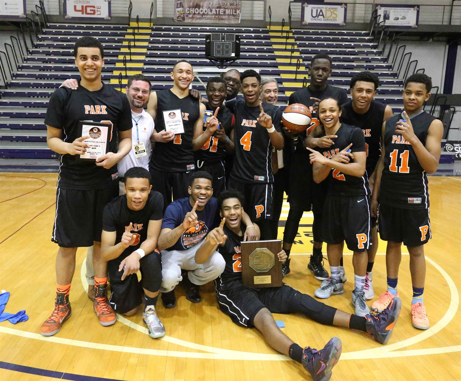 Park School celebrates after beating  Maspeth 70-51 in the Championship game of the NYS Federation Tournament of Champions at SEFCU Arena in Albany, N.Y., on Sunday, March 29, 2015.