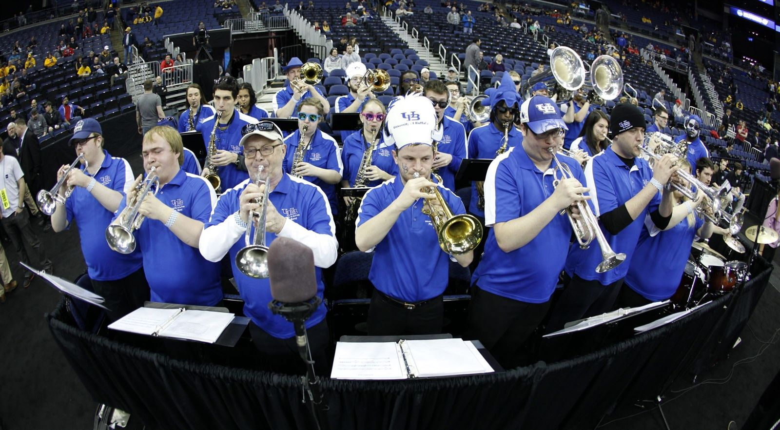 The University at Buffalo band performs during warm-ups before the Bulls play West Virginia in the NCAA Tournament men's basketball game at Nationwide Arena in Columbus.