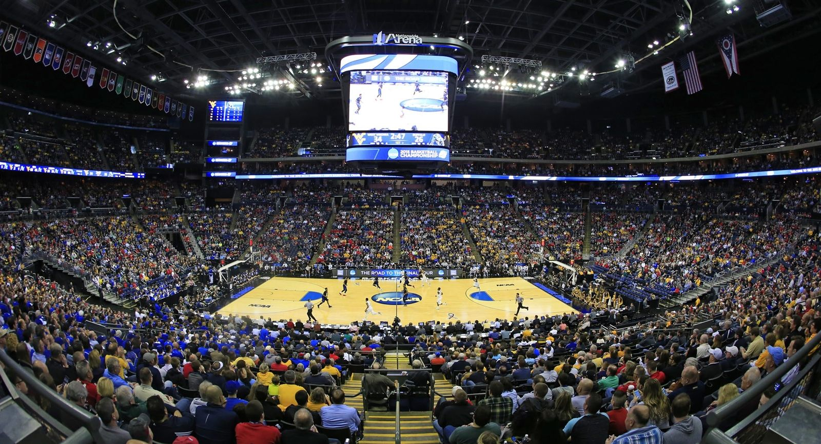 The University at Buffalo and West Virginia face off in the NCAA men's basketball tournament at Nationwide Arena in Columbus on March 20.
