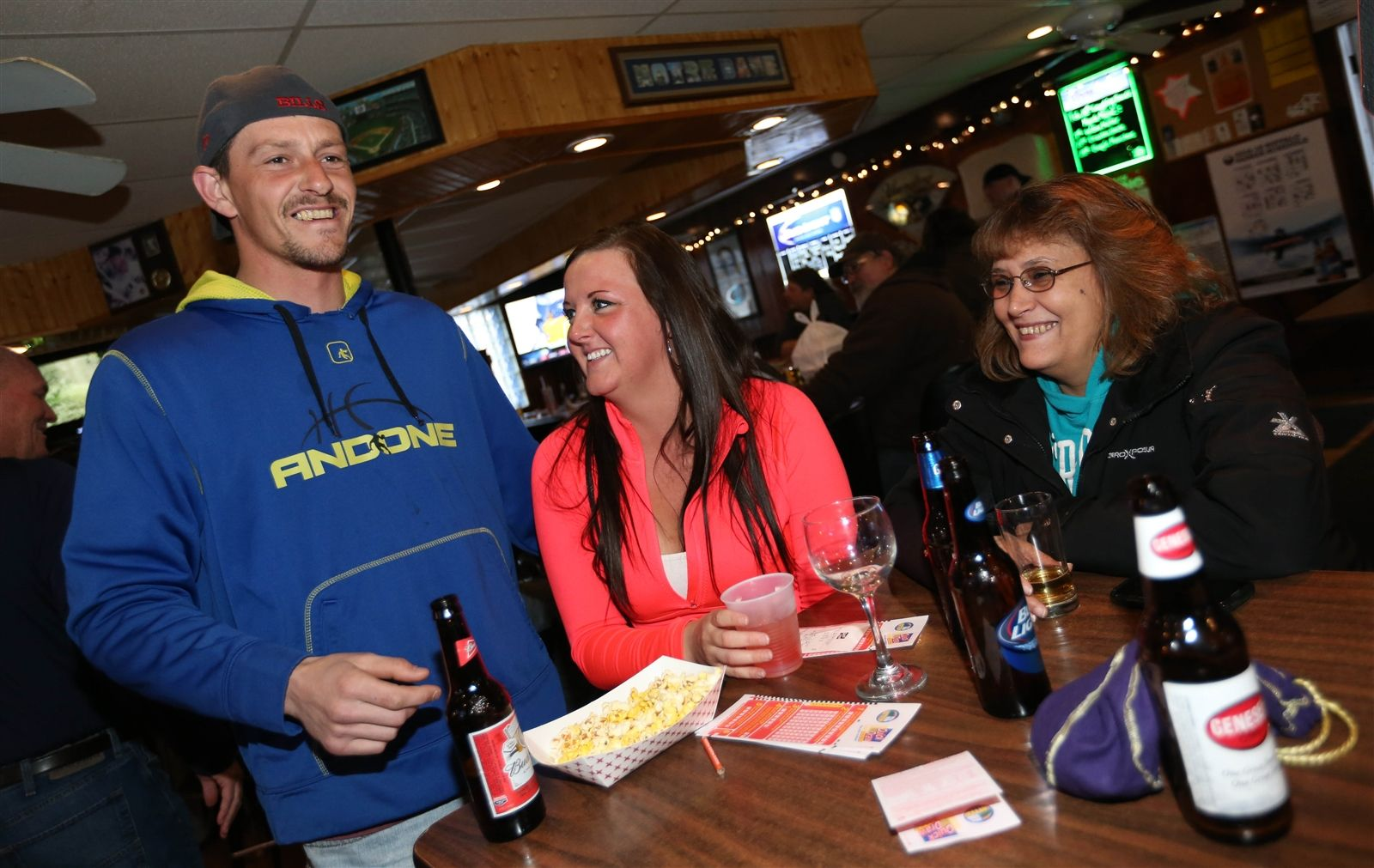 Hanging out from left are Jim Haskins of Silver Creek, Brittany De Loe of Silver Creek and Aesha Sullivan of Blasdell,  Thursday, March 26, 2015.