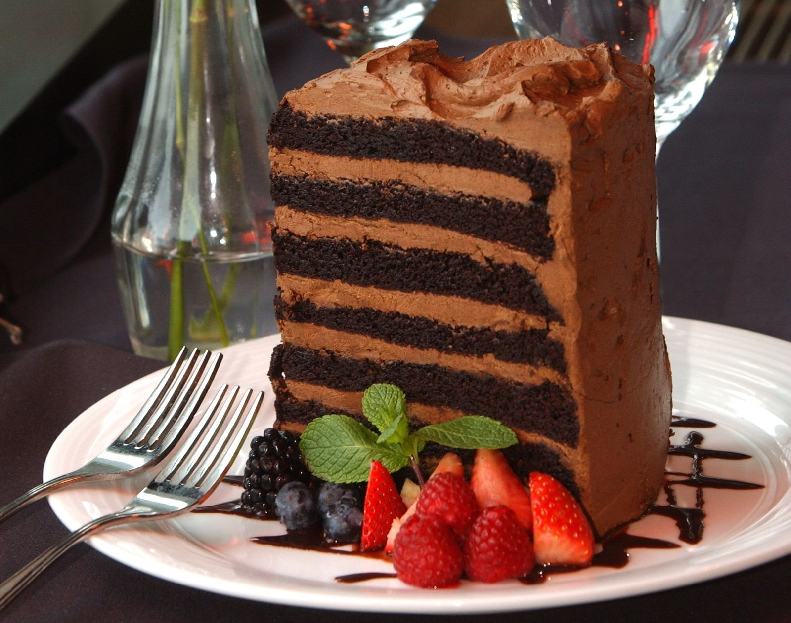 Seven-layer chocolate cake from E.B. Green's.