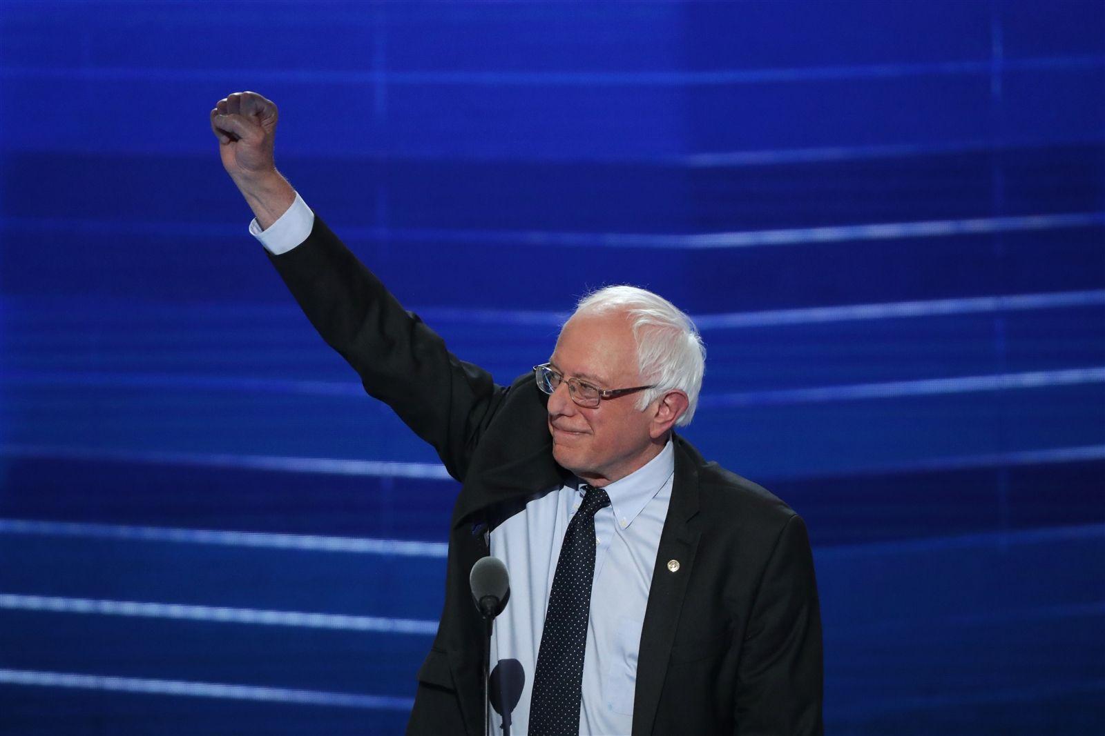 Sen. Bernie Sanders acknowledges the crowd before delivering remarks.