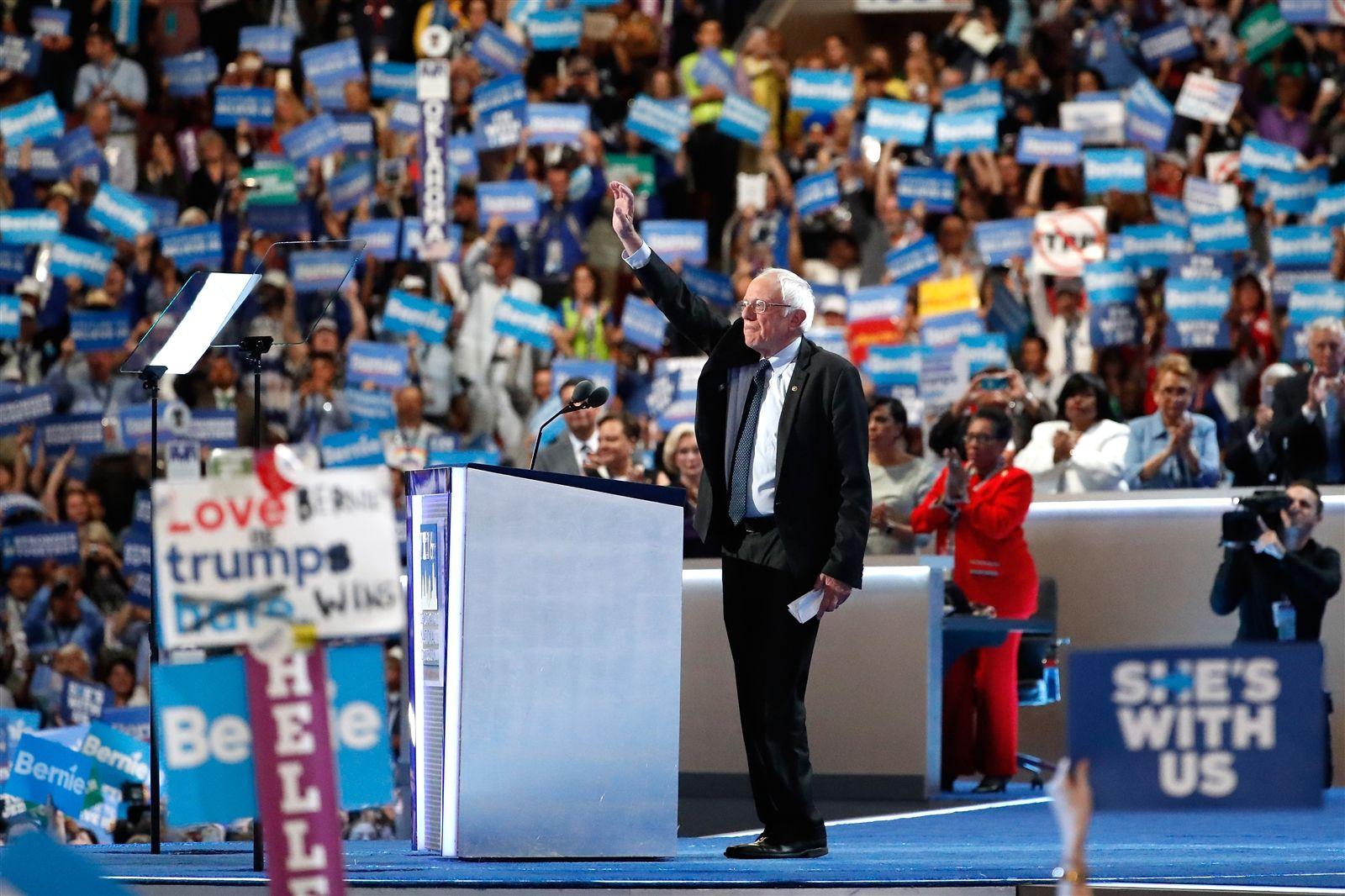 Sen. Bernie Sanders delivers remarks.