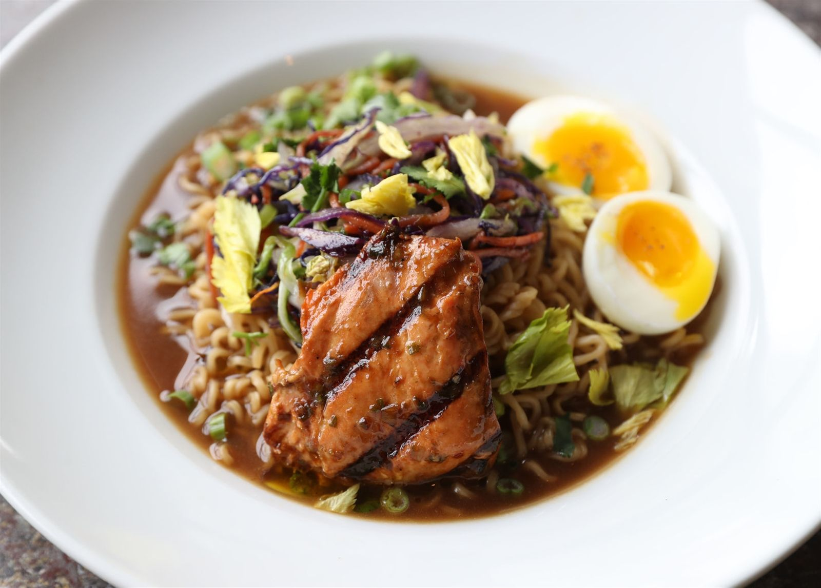 This is their ramen bowl with marinated salmon belly.