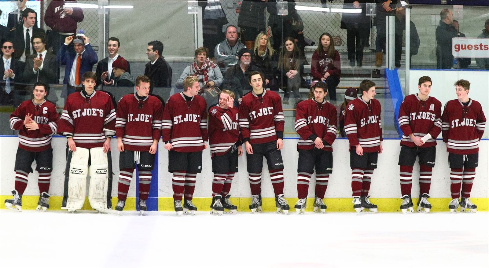 St. Joe's players line up for Senior Night before the start of the St. Joe's vs. Williamsville North game.