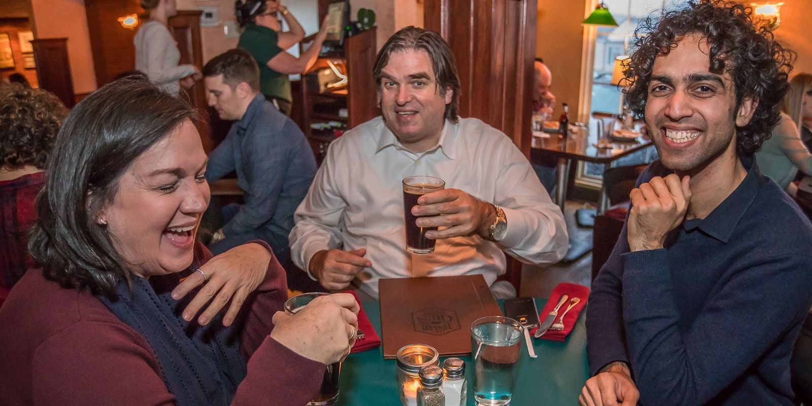 Smiling faces in the Glen Park Tavern on the first day of Local Restaurant Week.