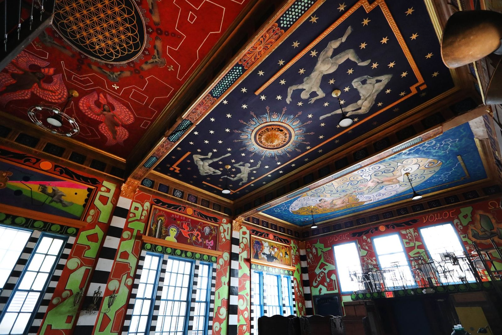 A look at the Tabernacle's ceiling, which has panels dedicated to different themes and created in markedly different styles.