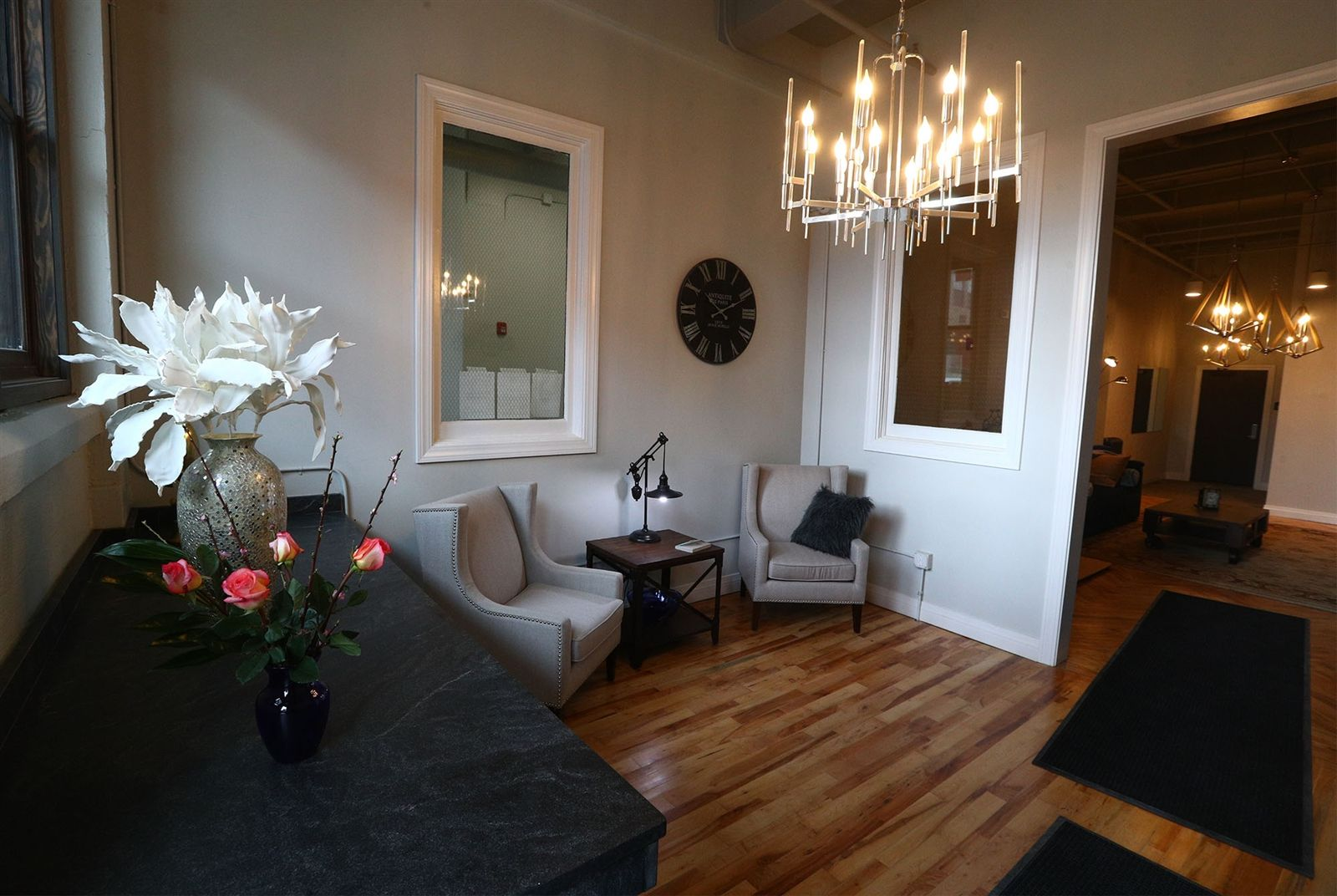 A foyer for the new Alexandre Apartments at 510 Washington St. Owners Amy and Mark Judd named the apartments using their son's middle name.